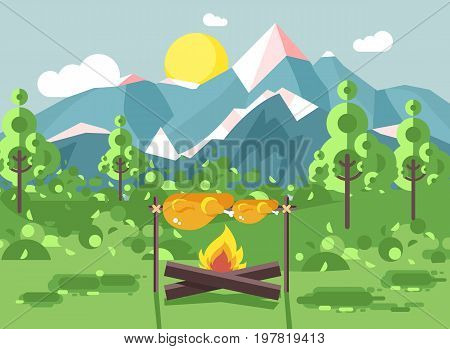 Stock vector illustration camping on nature, fry chicken meat on open fire bonfire with firewood grill, adventure, park outdoor background of mountains, backdrop trees and sun in flat style