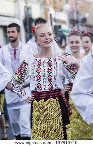 QUARTU S.E. ITALY - JULY 15 2017: 31 Sciampitta - International Folklore Festival - Sardinia (Folk dance troupe