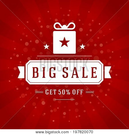 Sale Banner or Label Vector Design for Promotional Brochure or booklet, Discount Poster, Shopping flyer, Clearance advertising. Red rays background.
