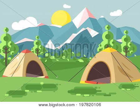 Stock vector illustration cartoon nature national park landscape with two tents camping hiking rules of survival bushes, lawn, trees, daytime sunny day, outdoor background of mountains in flat style