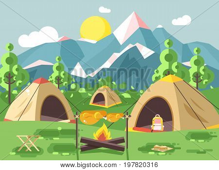Stock vector illustration nature national park landscape three tents bonfire, chicken fried sandwiches, snack, food, backpack, camping hiking daytime sunny day, outdoor background mountains flat style