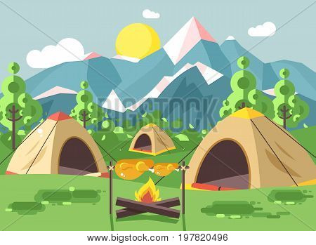 Stock vector illustration cartoon nature national park landscape with three tents with bonfire, open fire chicken is fried camping hiking daytime sunny day, outdoor background of mountains flat style
