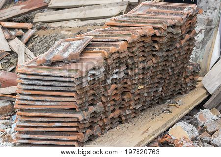Pile Of Old Used Roof Tiles
