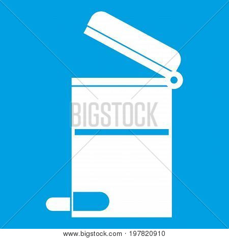 Steel trashcan icon white isolated on blue background vector illustration