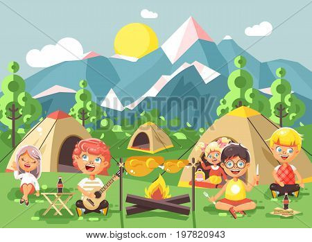 Stock vector illustration cartoon characters children boy sings playing guitar with girl scouts, camping on nature, hike tents and backpacks, adventure park outdoor background of mountains flat style
