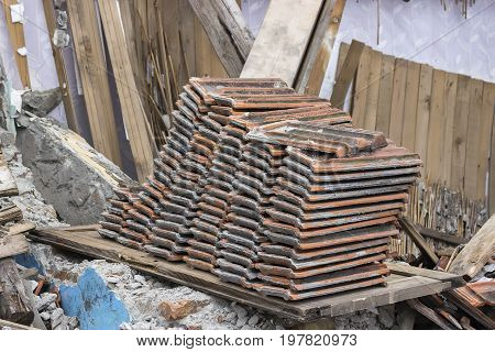 Pile Of Old Used Roof Tiles 2