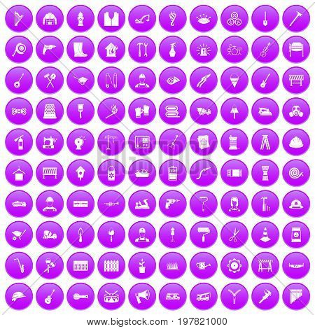 100 tools icons set in purple circle isolated on white vector illustration