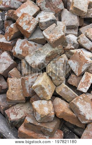 Pile Of Used Red Brick