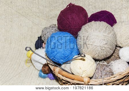 tangles of of wool in a basket on table.