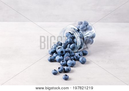 Blueberries on the white wooden table. Close up