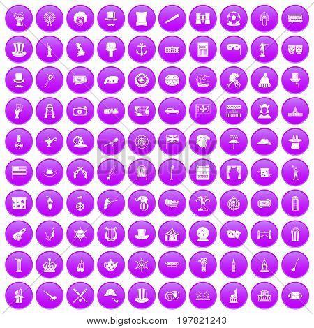 100 top hat icons set in purple circle isolated on white vector illustration