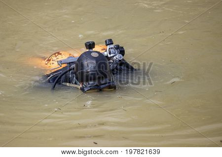 Scuba Diver Clean Garbage From River