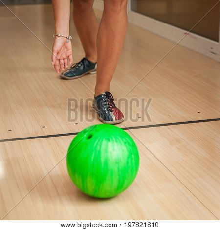 Green Bowling Ball In The Bowling Center
