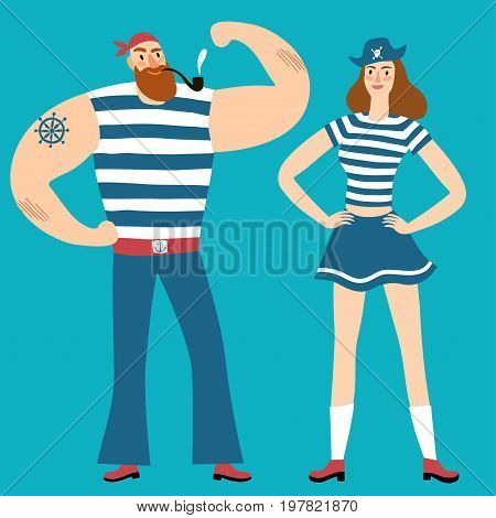 Mighty sailors. Pair of pirates man and woman. Cartoon illustration for your design.