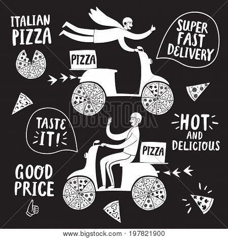 Pizza delivery illustration set with different titles for your design. Hand drawn fast motorcyclists with Italian pizza.