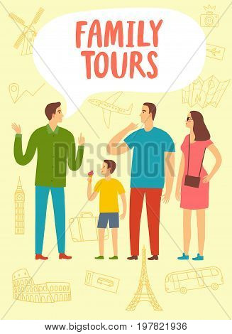 Family on excursion listening to the guide. Including doodle drawings: airplane; suitcase monuments. Tours and travel illustration for your design.