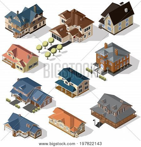 Isometric High Quality City Street Urban Buildings set isolated on Background. suburban buildings and cottages
