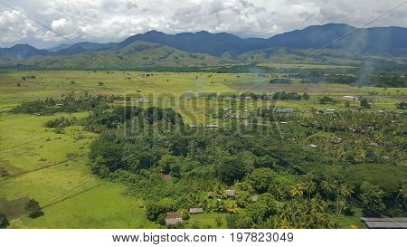 aerial view of Lae in Morobe province Papua New Guinea coming into Nadzab airport