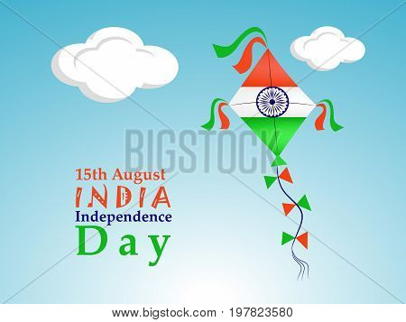 illustration of 15th August India Independence Day text with kite in India flag background on the occasion of India Independence Day