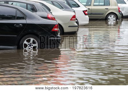 Car In Water After Heavy Rain And Flood