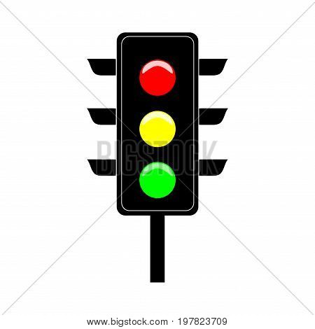 Stoplight sign. Icon traffic light on white background. Symbol regulate movement safety and warning. Electricity semaphore regulate transportation on crossroads urban road. Flat vector illustration.