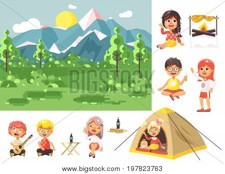 Stock vector illustration isolated cartoon characters children boy sings playing guitar, girl scouts siting in tent waving hand nature park outdoor bonfire, fried chicken, white background flat style