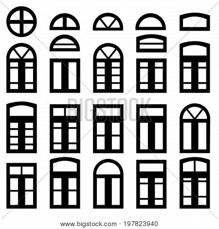 Simple windows of different shape isolated on white background