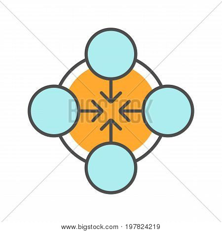 Concentration symbol color icon. Teamwork abstract metaphor. Isolated vector illustration