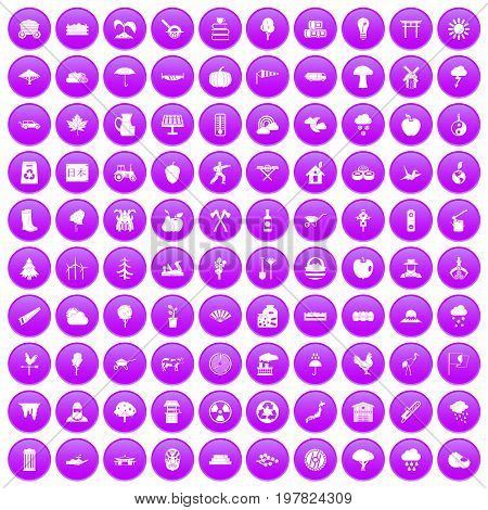 100 tree icons set in purple circle isolated on white vector illustration