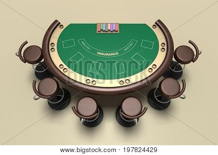 Blackjack Table And Chairs 3D Illustration