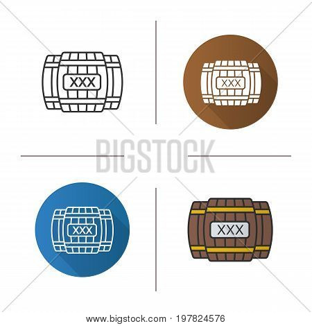 Alcohol wooden barrels icon. Flat design, linear and color styles. Whiskey or rum barrels with xxx sign. Isolated vector illustrations