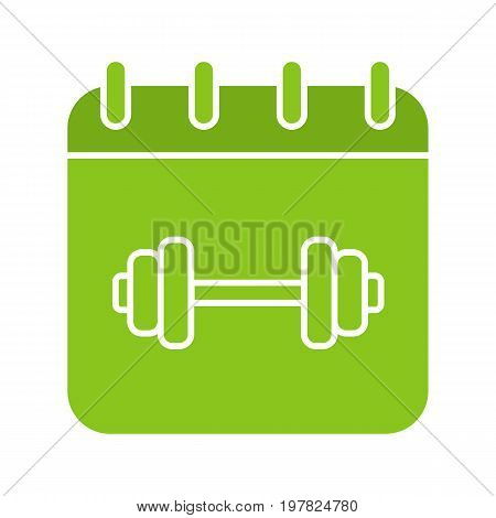Gym workout schedule glyph color icon. Calendar page with gym barbell. Silhouette symbol on white background. Negative space. Vector illustration