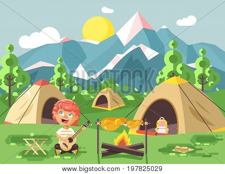 Stock vector illustration boy sings playing guitar, nature national park landscape, tents bonfire, chicken fried, snack, food, camping hiking daytime sunny day outdoor background mountains flat style
