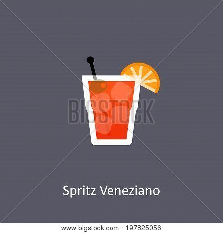 Spritz Veneziano cocktail icon on dark background in flat style. Vector illustration