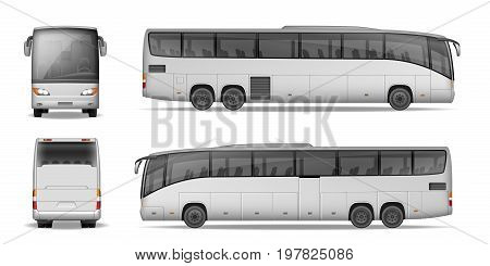 Coach bus isolated on white background. Travel Passenger Bus for advertising and your design. Realistic coach mockup Side, Front and Back view. Vector illustration EPS 10