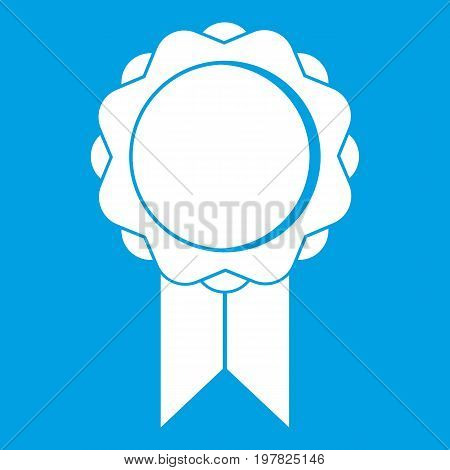 Rosette with ribbon icon white isolated on blue background vector illustration