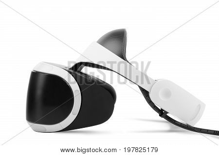A virtual reality helmet isolated over the white background. Immersion simulator. A new interactive toy for children and adults. Black and white virtual reality headset for professional gamers.