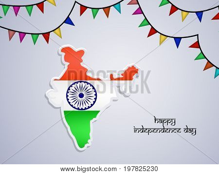 illustration of India map in India flag background with happy Independence day text on the occasion of India Independence day