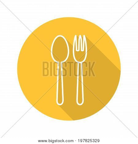 Eatery flat linear long shadow icon. Fork and spoon. Vector outline symbol