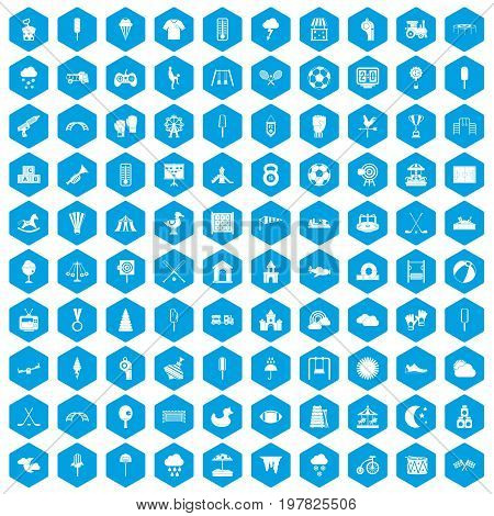 100 childrens playground icons set in blue hexagon isolated vector illustration