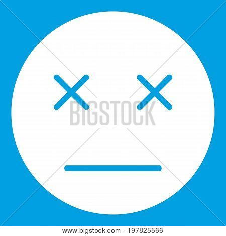 Dead emoticon white isolated on blue background vector illustration
