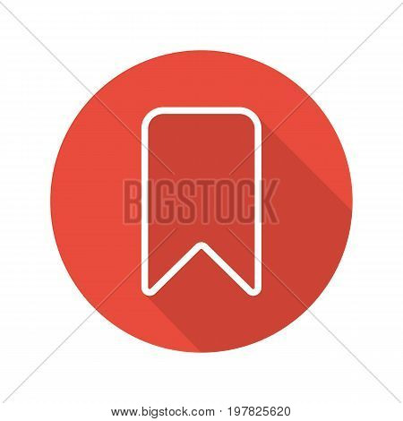Bookmark flat linear long shadow icon. Vector outline symbol