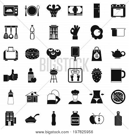 Food for breakfast icons set. Simple style of 36 food for breakfast vector icons for web isolated on white background