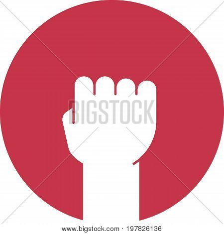 Raised fist glyph color icon. Clenched hand gesture. Silhouette symbol on red background. Negative space. Vector illustration