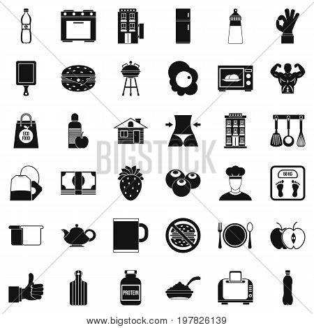 Early breakfast icons set. Simple style of 36 early breakfast vector icons for web isolated on white background