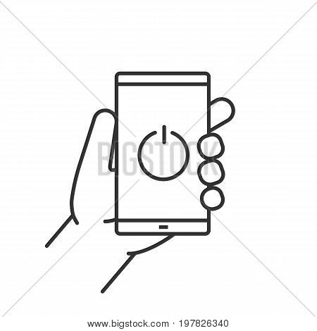 Hand holding smartphone linear icon. Thin line illustration. Turn off smart phone contour symbol. Vector isolated outline drawing