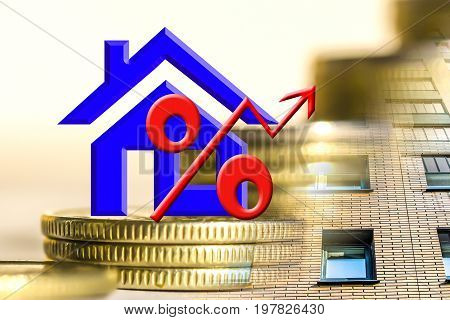 The symbol real estate on a background of money . The concept of price changes on the real estate market