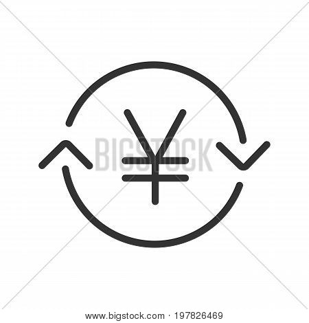 Japanese and China yen exchange linear icon. Thin line illustration. Refund contour symbol. Vector isolated outline drawing