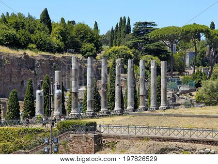 View on antique forum columns on famous ancient Roman Forum, Rome, Italy.