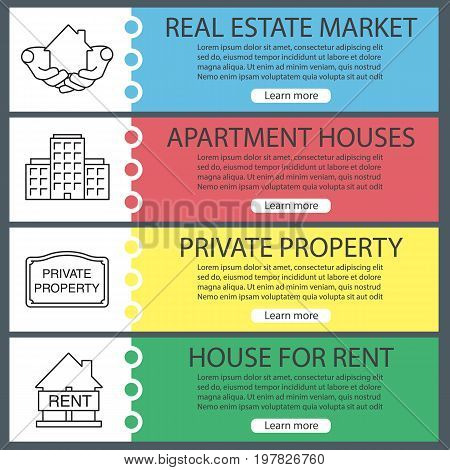 Real estate market web banner templates set. Hands holding house, private property, home for rent, apartment houses. Website color menu items with linear icons. Vector headers design concepts